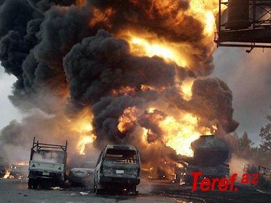 Benzin daşıyan maşın yandı - 75 nəfər öldü