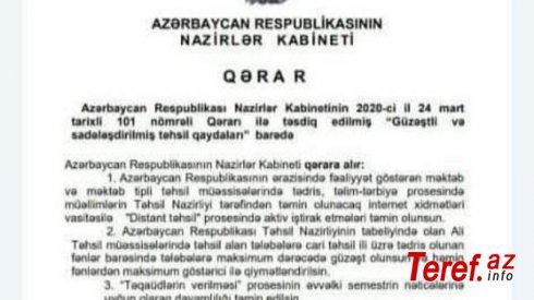 Təhsil Nazirliyi:
