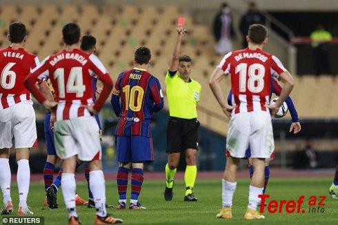 """""""Barsa"""" Superkuboku əldən verdi: Messi 753 oyunda ilk dəfə qırmızı vərəqə aldı - VİDEO"""