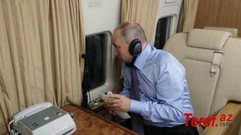 Putinin təyyarədəki kabinetindən görüntülər yayıldı